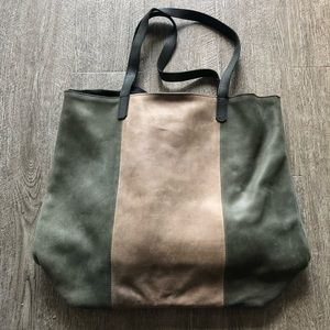 Able striped leather tote bag